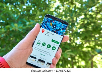 TORONTO, CANADA - JULY 15, 2018: Yandex Maps mobile app on Samsung s8. Yandex N.V. is a russian multinational corporation specializing in Internet-related services and products.