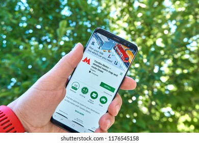 TORONTO, CANADA - JULY 15, 2018: Yandex Metro mobile app on Samsung s8. Yandex N.V. is a russian multinational corporation specializing in Internet-related services and products.