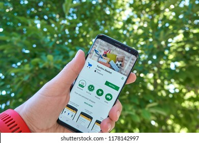 TORONTO, CANADA - JULY 15, 2018: Yandex Market mobile app on Samsung s8. Yandex N.V. is a russian multinational corporation specializing in Internet-related services and products.