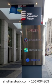 Toronto, Canada - July 2, 2018: Firm Names (Osler, Gowling Wlg, Bennett Jones and Zurich) at First Canadian Place in Toronto.