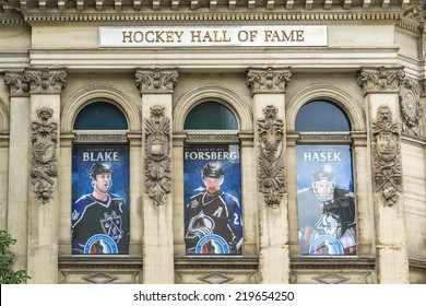 TORONTO, CANADA - JULY 23, 2014: View of Hockey Hall of Fame, dedicated to history of ice hockey, exhibits about players, teams, NHL records, memorabilia and trophies.