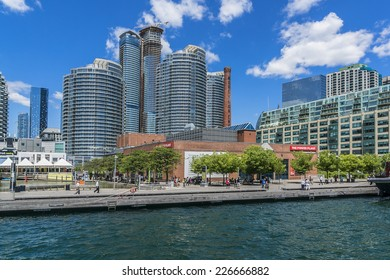 TORONTO, CANADA - JULY 23, 2014: The beautiful Toronto's skyline over Lake Ontario. Urban architecture.