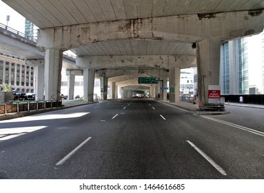 TORONTO, CANADA - JULY 23, 2019: A view of the Lake shore boulevard under the Gardiner Expressway in Toronto, Canada.