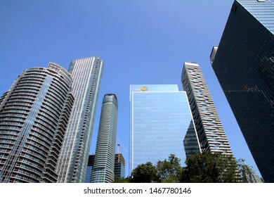 TORONTO, CANADA - JULY 23, 2019: Modern buildings in Downtown Toronto.