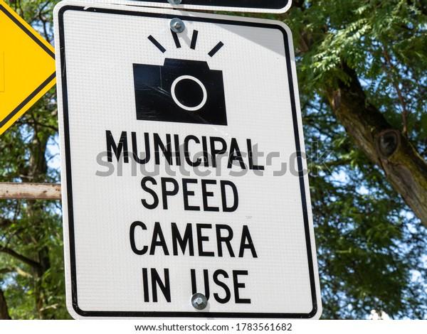 Toronto Canada, July 25, 2020; Sign warning of Photo radar speed camera