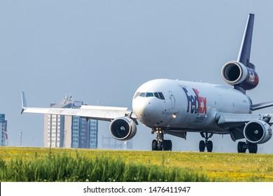 TORONTO, CANADA - July 26, 2019: Fedex MD-11 seen braking after landing at Toronto Pearson Intl. Airport.