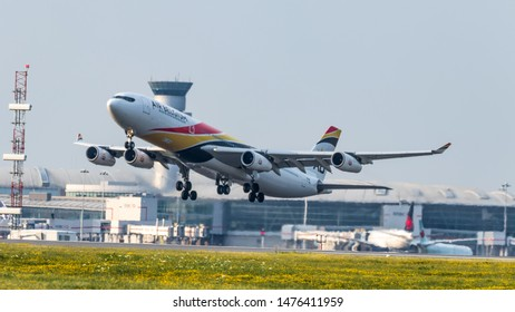 TORONTO, CANADA - July 26, 2019: Air Belgium Airbus A340 operated by British Airways lifting off from Toronto Pearson Intl. Airport.