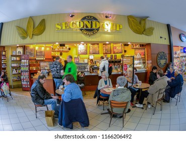 Toronto, Canada- July 28, 2018: People having coffee and snacks in a Second Cup cafeteria. Second Cup Coffee Co. is a Canadian coffee retailer operating more than 300 cafes across the country