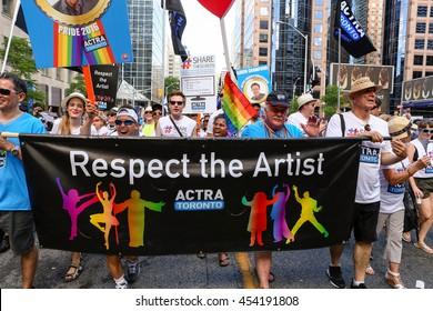 TORONTO, CANADA - JULY 3, 2016: ACTRA Toronto marches at Toronto Pride Parade.