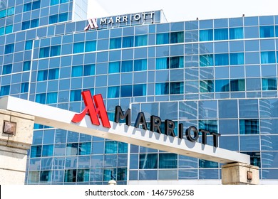 Toronto, Canada - July 31, 2019: Toronto Marriott City Centre Hotel in the Rogers Centre in Toronto, Canada. Marriott International is an American hospitality company.