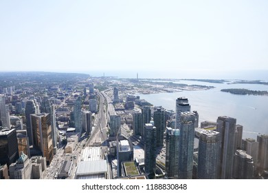 Toronto, Canada - JULY 4, 2018: The Toronto city. Taken from CN tower.