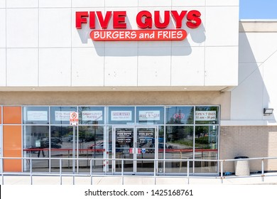 Toronto, Canada - June 03, 2019: Five Guys Burgers and Fries restaurant in Toronto, an American fast casual restaurant chain focused on hamburgers, hot dogs, and French fries.