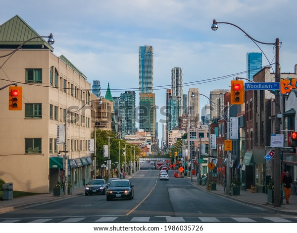 TORONTO, CANADA - JUNE 03, 2021:  View of skyscrapers of the Financial District in Downtown Toronto from Yonge and Woodlawn junction at Rosedale