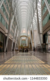 Toronto, Canada - June 06, 2018: Brookfield Place in Downtown Toronto. Brookfield Place is an office complex covering an entire block in the financial district of Toronto.