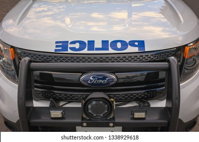 TORONTO, CANADA - JUNE 06, 2018:Front of a police crossover car with blue reverse lettering