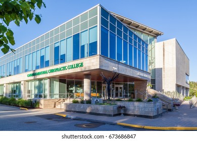 TORONTO, CANADA - JUNE 07, 2017: Exterior view of Canadian Memorial Chiropractic College, an evidence-based leader in chiropractic education and research in Toronto.