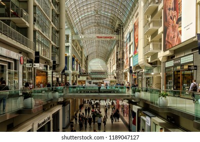 Toronto, Canada - June 12, 2018: Toronto Eaton Centre shopping center is a covered mall located in the financial center of Toronto.