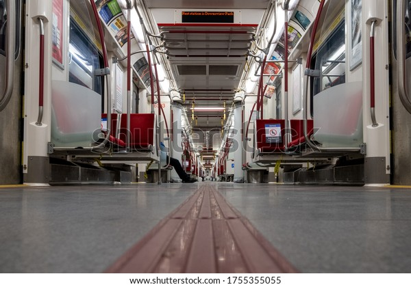 TORONTO, CANADA - JUNE 13, 2020: A TTC Subway Line 1 car with reduced ridership during the Covid-19 pandemic close to Downsview Park Station