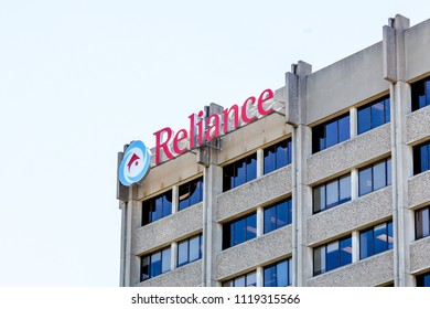 Toronto, Canada - June 14, 2018: Sign of Reliance Home Comfort on the headquarters building in Toronto, the furnaces, air conditioners, water heaters, HVAC, plumbing services in GTA.