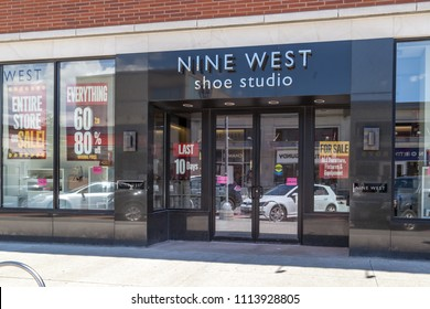 Toronto, Canada - June 15 2018: Nine West  shoe store at Shops at Don Mills in Toronto,  Canada. Nine West announced going-out-of-business sales.