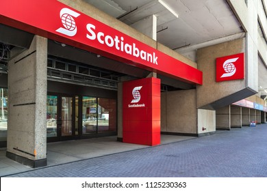 Toronto, Canada - June 19, 2018: Entrance of Scotiabank head office in Toronto's financial district, a Canadian multinational bank.
