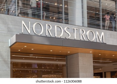 Toronto, Canada - June 19th, 2018: Sign of Nordstorm in the Eaton Centre shopping mall in Toronto. Nordstrom is an American chain of department stores founded in 1901.
