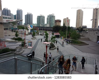 Toronto, Canada - June 2015: The main square of Ripley's Aquarium of Canada near the CN Tower and Rogers Centre, at downtown area.