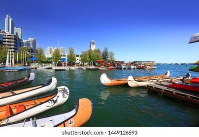 TORONTO / CANADA - JUNE 21. 2019: Toronto harbor front center formed in 1991 in an effort to create a waterfront park in Toronto.