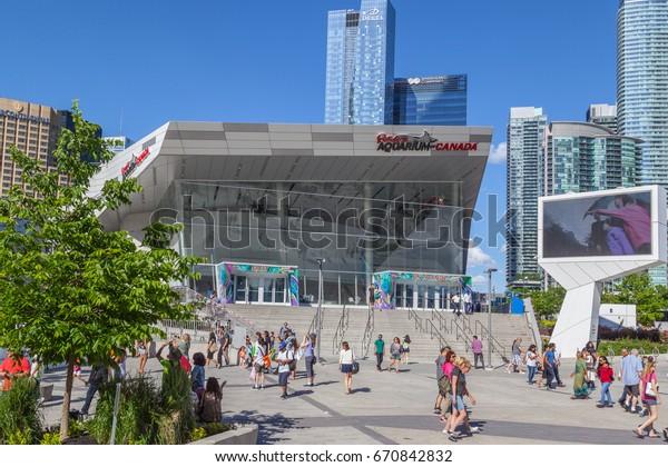 TORONTO, CANADA - JUNE 24, 2017: People visit Ripley's aquarium of Canada in Toronto.