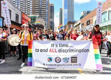 TORONTO, CANADA - JUNE 25, 2017: ANIMAL RIGHTS TORONTO march at 2017 Toronto Pride Parade.