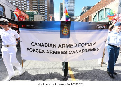 TORONTO, CANADA - JUNE 25, 2017: CANADIAN ARMED FORCES marches at 2017 Toronto Pride Parade.