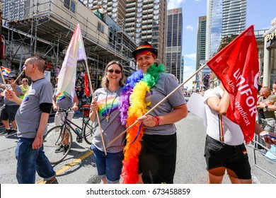 TORONTO, CANADA - JUNE 25, 2017: UNIFOR, Canada's largest Private Sector Union, marches at 2017 Toronto Pride Parade.