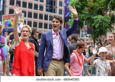 TORONTO, CANADA - JUNE 25, 2017: Ontario Premiere Kathleen Wynne and Canadian Prime Minister Justin Trudeau at 2017 Toronto Pride Parade.