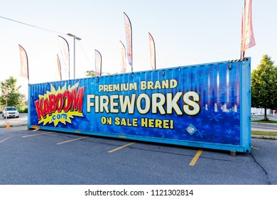 Toronto, Canada - June 25, 2018: KABOOM seasonal mobile in Toronto.  KABOOM is the most recognizable and well-known fireworks company in Ontario, Canada.