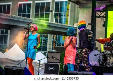 Toronto, Canada - June 28 2015: Pussy Riot (Nadezhda Tolokonnikova) performing at Toronto pride festival.