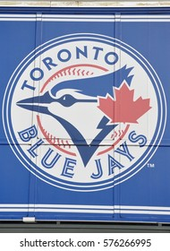 Toronto, Canada - June 28, 2016: Sign of Toronto Blue Jays team in front of Rogers Centre.