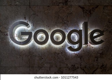 TORONTO, CANADA - JUNE 30, 2017: Google sign on the entrance of Google Canada's Toronto headquarters in downtown Toronto, opened on 2012.