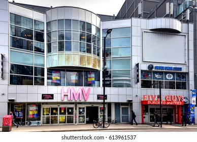 TORONTO, CANADA - MAR 29, 2017: The big HMV store on Yonge St with closing signs. HMV Canada, a former subsidiary of the UK corporation, recently went into receivership as CD and DVD sales fall.