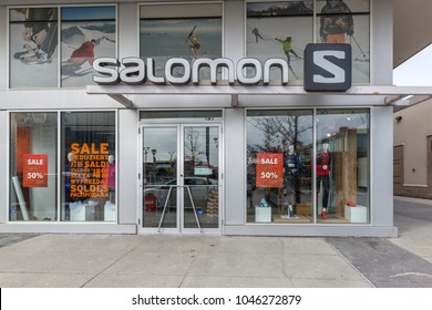 Toronto, Canada- March 02, 2018: Salomon store front at Shops at Don Mills in Toronto. Salomon is a sports equipment manufacturing company.