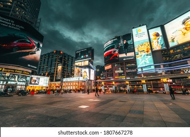TORONTO, CANADA - March 04, 2020: Yonge Dundas Square in Toronto. The Yonge-Dundas intersection is one of the busiest in Canada.