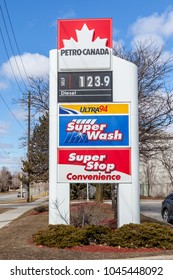 Toronto, Canada - March 11, 2018: Sign of Petro Canada gas station.