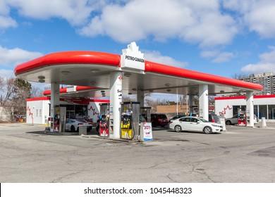Toronto, Canada - March 11, 2018: Petro Canada gas station In Toronto