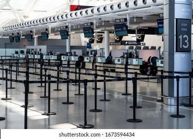 Toronto Canada, March 15, 2020; Empty departures check in area at Toronto Pearson YYZ airport