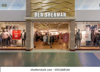 Toronto, Canada - March 17, 2018: Ben Sherman store front at Vaughan Mills in Toronto, a Canadian fashion company.