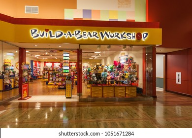 Toronto, Canada - March 17, 2018: Build-A-Bear Workshop store front at Vaughan Mills in Toronto, an American retailer that sells teddy bears and other stuffed animals.