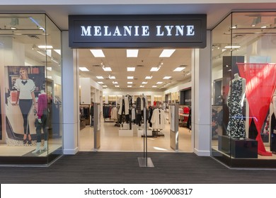 Toronto, Canada - March 17, 2018: Melanie lyne store front at Vaughan Mills in Toronto. Melanie Lyne is an Canadian fashion brand.
