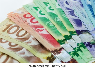 TORONTO CANADA - MARCH 18, 2018:  The Canadian dollar bills in $5, $10, $20, $50, and $100 denominations.