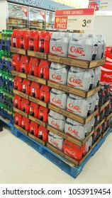 TORONTO, CANADA - MARCH 23, 2018: Stacked Coca Cola bottles at a supermarket in Canada.