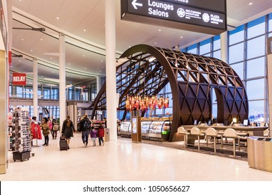 Toronto, Canada - March 2nd 2018: Modern interior Toronto Pearson International Airport. Contemporary architecture inside of the Toronto Pearson International Airport