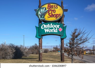 Toronto, Canada - March 3, 2018: Sign of Bass Pro Shops at Vaughan Mills shopping centres, an American privately held retailer of hunting, fishing, camping and related outdoor recreation merchandise